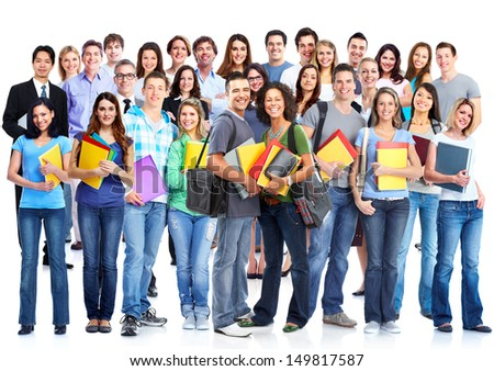 Students group.  Isolated over white background. Education.
