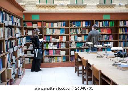 students in a school library