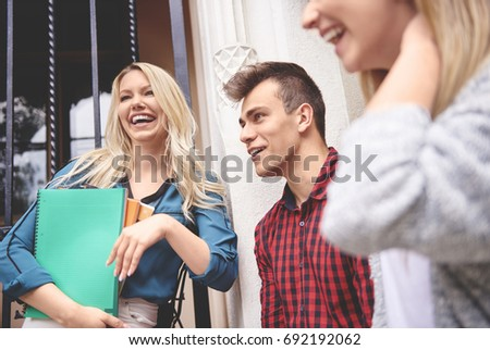 Students laughing together during break  #692192062