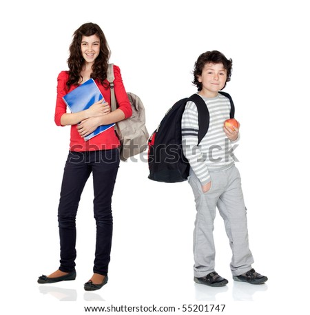 Students of different ages with a backpack and folder isolated on white