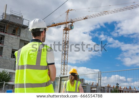 students on construction site