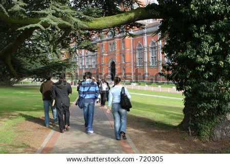 Students walking to college