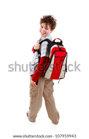 Students with backpack isolated on white background