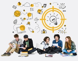 Students working network graphic overlay background