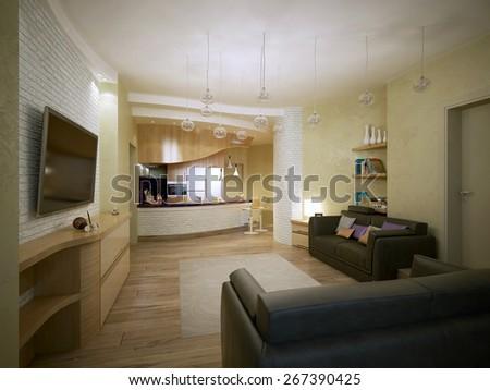 Studio apartment vanguard style, 3d render #267390425