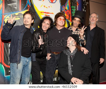 STUDIO CITY, CA - JAN 28: Steve Altman (L), Tim Piper (C) and the band attendng John Lennon last concert on January 28, 2009 in Studio City, California.