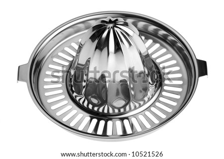 Studio close-up of a stainless steel citrus juicer isolated against white background