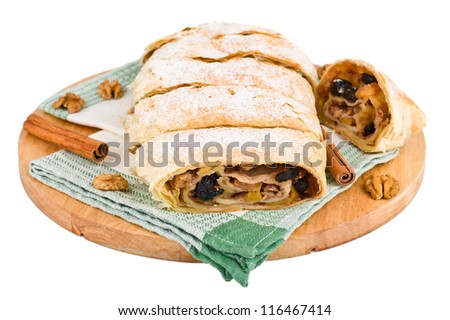 Studio close-up of delicious apfelstrudel (apple pie) isolated on white background