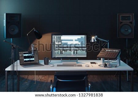 Studio Computer Music Station set up. Professional audio mixing console with faders and adjusting knobs. Big computer monitor. broadcasting. 3d rendering.