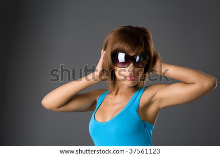 Studio fashion picture from a young african model - stock photo