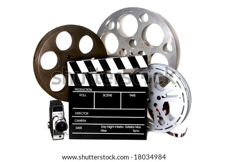 Studio Film Reels and Directors Clapper With Vintage Camera on White