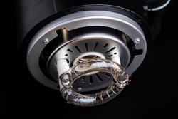 Studio flash light bulb closeup, spotlight bulb studio lamp for a photoelectric  technology, flashlight equipment detail