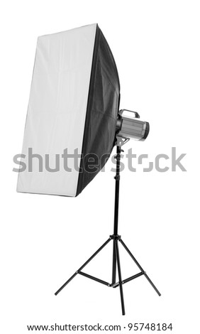 Studio flash with soft-box on white background