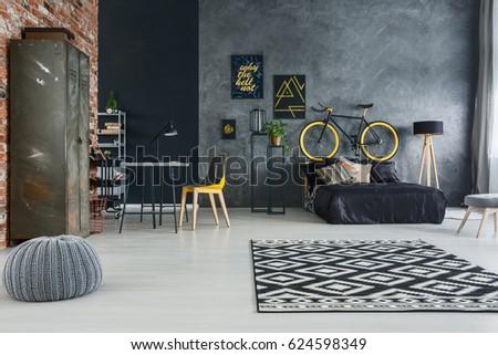 Studio flat of single man with modern furniture