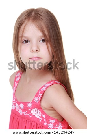 Studio image of a healthy little girl with long hair and beautiful smile isolated on white on Beauty and Fashion #145234249