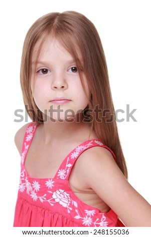 Studio image of a healthy little girl with long hair and beautiful smile isolated on white on Beauty and Fashion #248155036