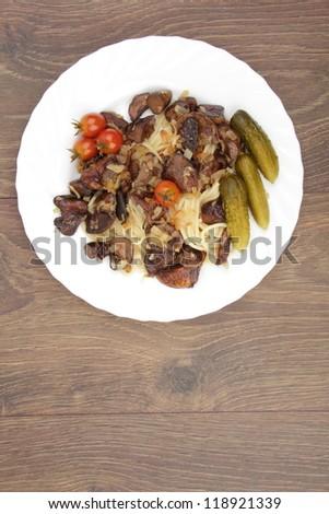 Studio image of pasta and mushrooms
