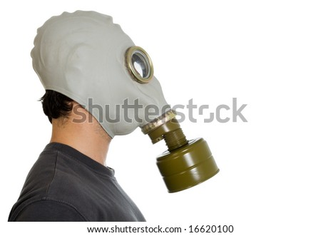 studio isolated image of a man in gas mask side view