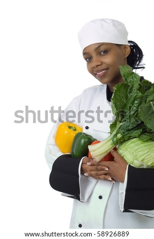 Studio isolated woman female chef with green spinach, cabbage, red and yellow peppers on white