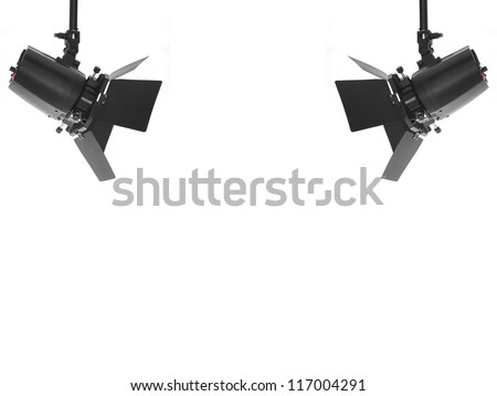 Studio Lighting Equipment Isolated Against A White Background