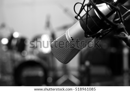 Studio microphone close-up in black and white  #518961085