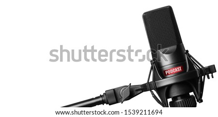 Studio microphone for recording podcasts isolated on white background Foto stock ©
