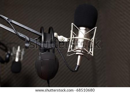 Studio microphone in radio studio