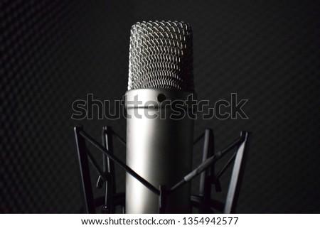 Studio microphone in the studio