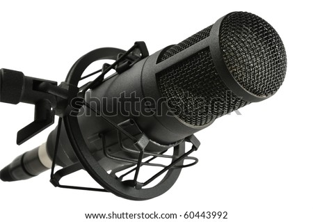 Studio microphone on stand isolated on white background