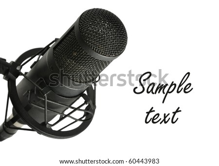 Studio microphone on white background with copy space