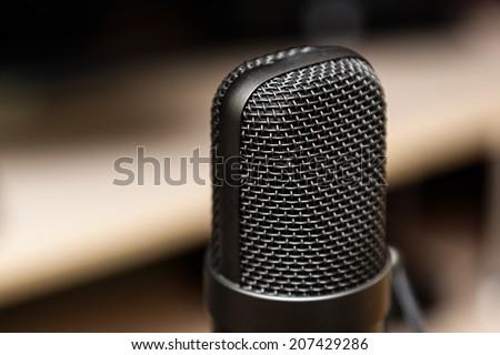Studio microphone, recording studio, radio station.
