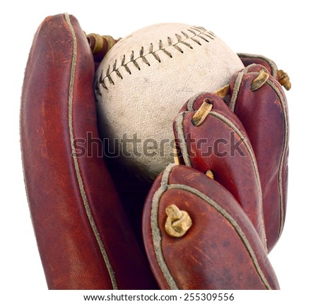 Studio photo of baseball in baseball glove isolated on white.