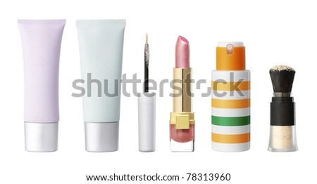 Studio photo of blank cosmetics containers. Isolated on white background.