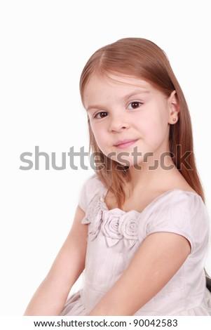 Studio photo of lovely little girl posing on camera over white background/Pretty little girl #90042583