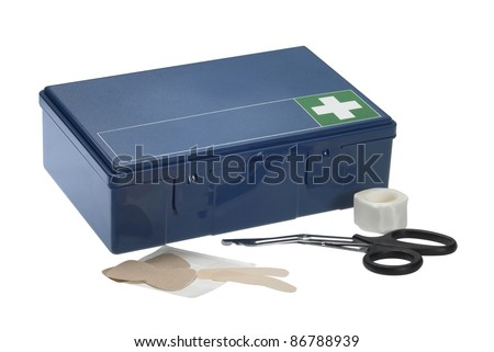 Studio photography of a blue ambulance box and some supplies, isolated on white