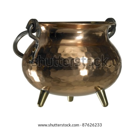 studio photography of a cauldron made of copper isolated on white, with clipping path