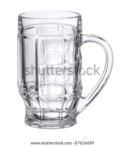 studio photography of a empty beer mug made of glass in white back