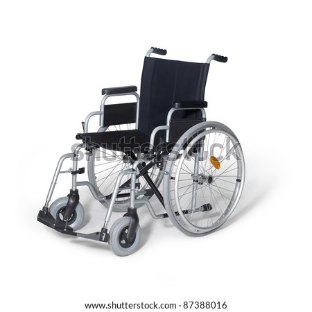 studio photography of a empty wheelchair in white back with shadow