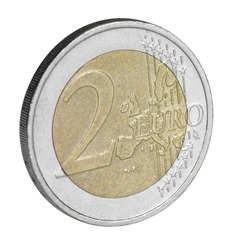 Studio photography of a 2 euro coin isolated on white
