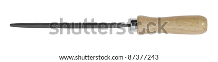 studio photography of a file with wooden handle in white back