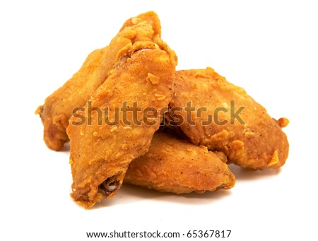 Studio photography of a fried chicken wings isolated on white with shadow