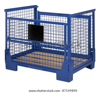 studio photography of a metal lattice transportation box isolated on white with clipping path