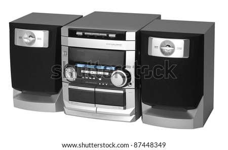studio photography of a modern compact hi-fi system in white back