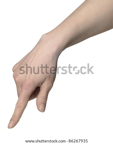 studio photography of a pointing hand in white back
