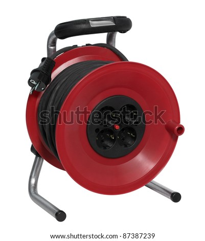 studio photography of a red cable reel made of plastic in white back