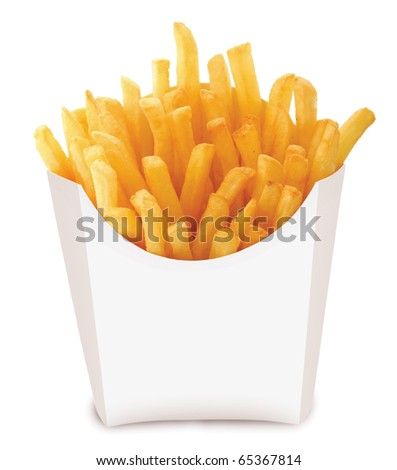 Studio photography of a roasted potatoes french fried chips isolated on white background