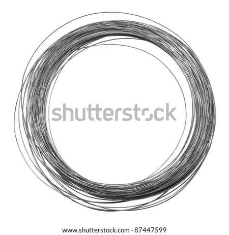 studio photography of a roll of metal wire isolated on white