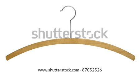 studio photography of a simple wooden clothes hanger isolated on white with clipping path