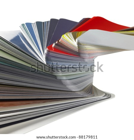 studio photography of a spread color chart isolated on white