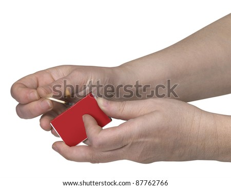 studio photography of two hands and a burning match in white back